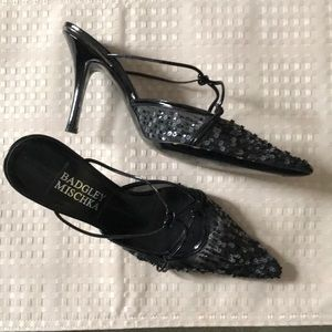 Badgley Mischa Sling Back Black Evening Shoes